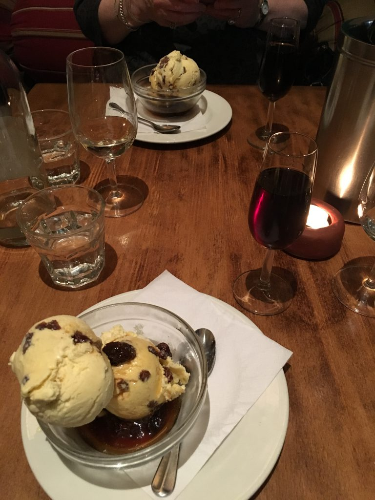 Moro raisin ice cream, with some rum over the top, and a glass of Pedro Ximenez on the side
